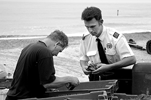Photograph of fisheries officer at work in Cromer.