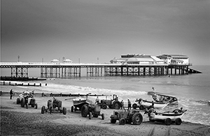 Fishing boats landing on Cromer beach.