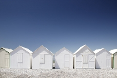 White beach Huts  - Normandy Coast