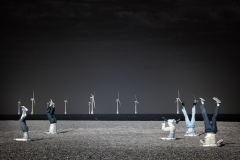 Infrared photograph of dancers with their head in the sands at Great Yarmouth.