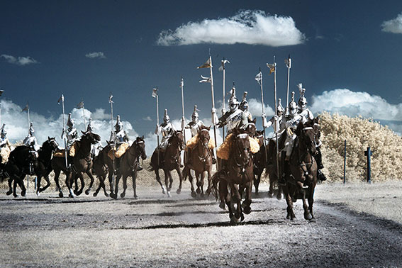 Infrared photograph of the Household Cavalry galloping.