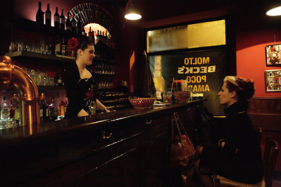 Photograph of a girl in a Milan bar.