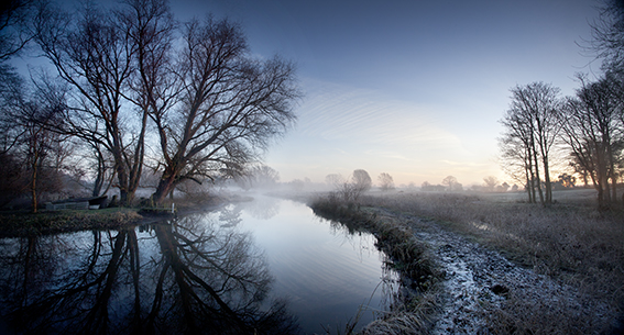 Early morning photograph of a river in Norfolk