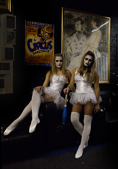 Photograph of dancers in Halloween costume.