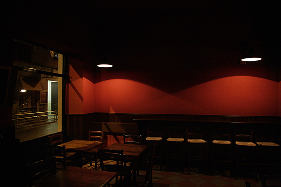 Photograph of empty bar in Milan.