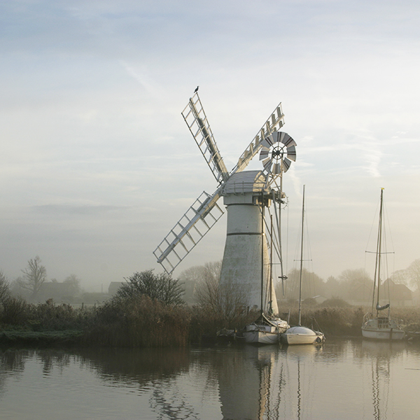 Photograph of a wind pump on the Norfolk Broads.