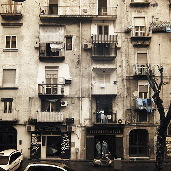 Infrared photograph of apartments in Naples.