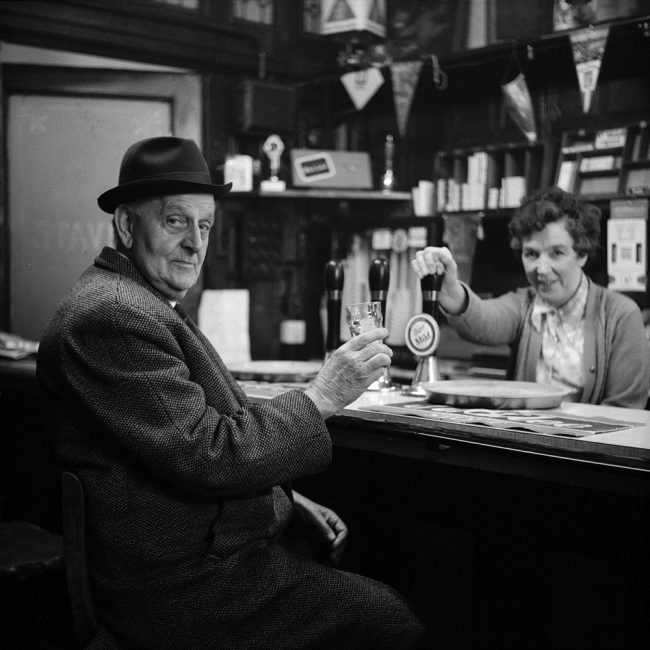 A black and white photograph of what is believed to be a pathologist in The Theatre Tavern Hull about 1972.