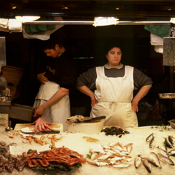 Photograph of a Barcelona Fish wife in the market.