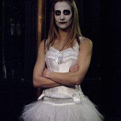 Photograph of a dancer in a tutu and Halloween makeup at the Hippodrome Circus Gt Yarmouth.