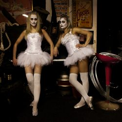 Photograph of two dancers in Halloween costume and tutus at the Hippodrome Circus Gt Yarmouth.
