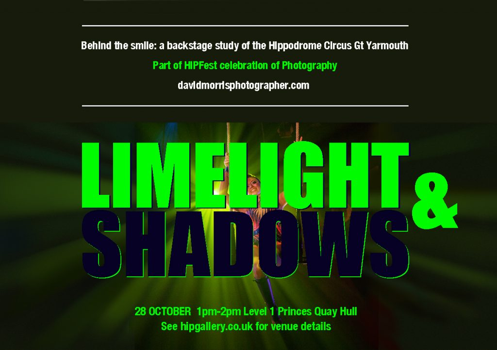 Exhibition poster for Limelight & Shadows for HIPFest Celebration of Photography Hull.