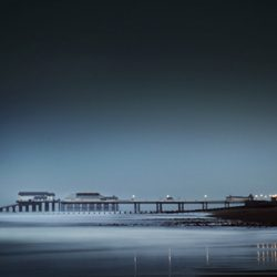 A photograph taken at dusk towards Cromer pier.