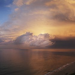 A colour photograph of storm clouds towards Overstrand Norfolk.