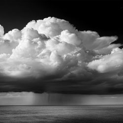Black and white photograph of storm clouds from Cromer.