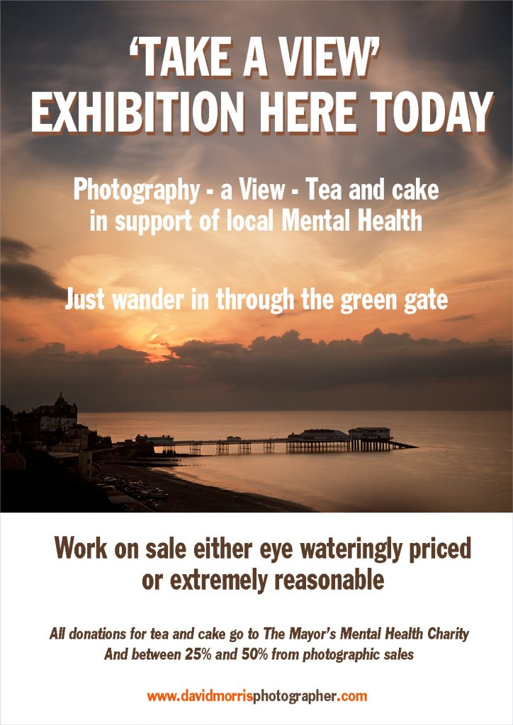 A poster design advertising a photographic exhibition in the photographers studio.
