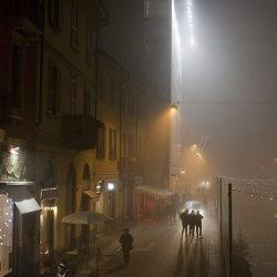Photograph of the Navigli in Milan on a misty night.