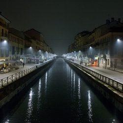 Photograph of the Navigli at night.