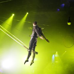 Photograph of Eric performing on the trapeze.