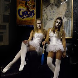 Colour photographs of dancers in Halloween costumes.