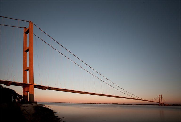 Colour photograph of the Humber Bridge.