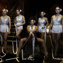 Colour photograph of dancers and ribbons at the Hippodrome Circus.
