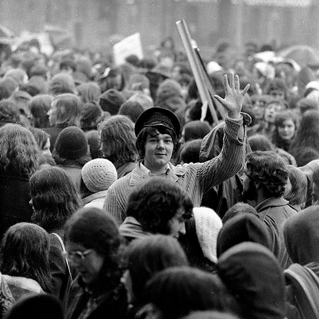 Black and white photograph of students at a gathering in Queen's Gardens Hull.