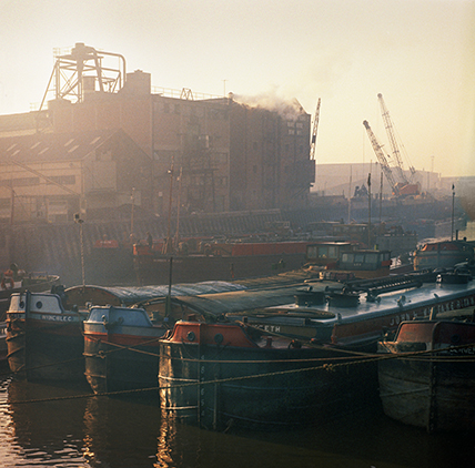 Colour photograph of the river Hull and barges 1971