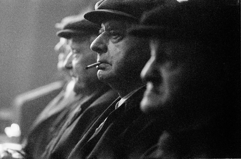 Black and white photograph of old men in the Theatre Tavern Hull.