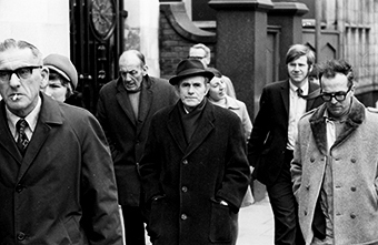 Black and white photograph of people in a street in Hull in the early 1970's.