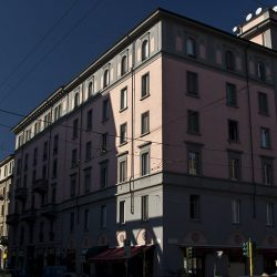 Colour photograph of apartments in Milan.