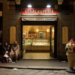 Colour photograph of a Gelecreperia in Milan.