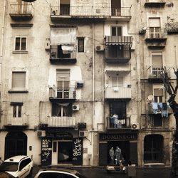 Infrared photograph of apartments in Genoa.
