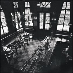 Black and white photograph of an old Dutch bar Amstrdam.