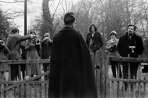 Black and white photograph of Clee Rimmer some students and a priest 1971.