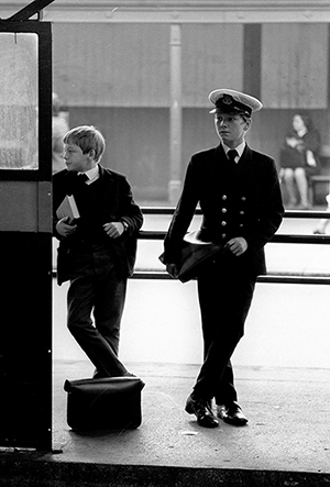 Two Trinity House boys in traditional dress in Hull bus station 1971.