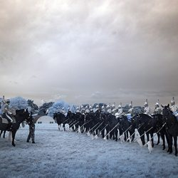 An infrared photograph of the Household Cavalry being inspected.