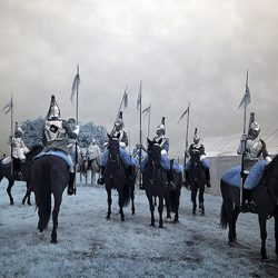 Infrared photograph of the Household Cavalry in Norfolk.